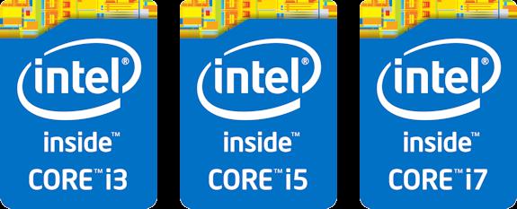 Logo's van de Core i3, i5 en i7 processoren.
