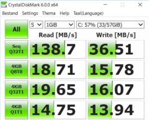 Chuwi Labbook 15,6 eMMC snelheid