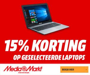 15% korting op geselecteerde laptops bij Mediamarkt.